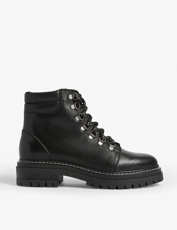 Whistles Amber Lace Up Hiking Boots In Black