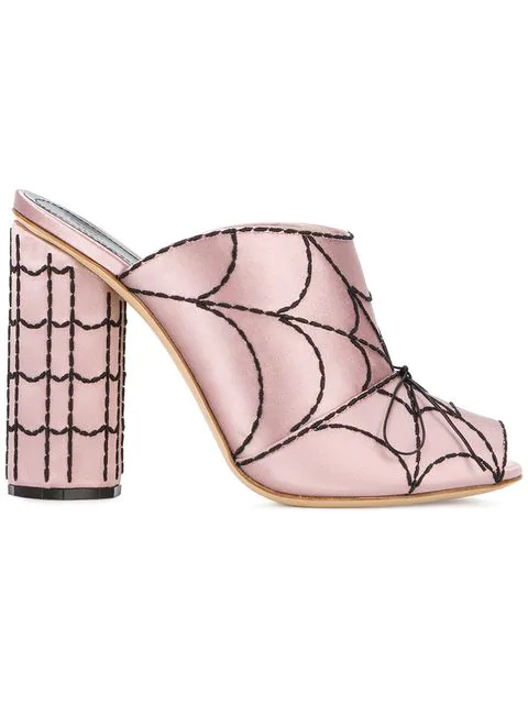 Marco De Vincenzo Spider's Web-Embroidered Satin Mules In Pink