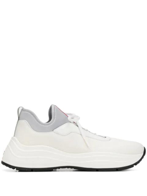 Prada America's Cup Sneakers In F0N87 Bianco+Allumini