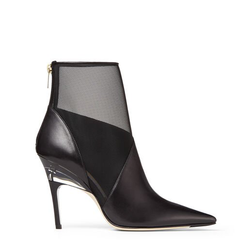 Jimmy Choo Sioux 100 Black Nappa Leather Mesh Boots With Plexi Heel In Black/Black