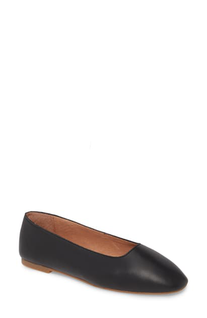 Madewell The Cory Flat In True Black Leather
