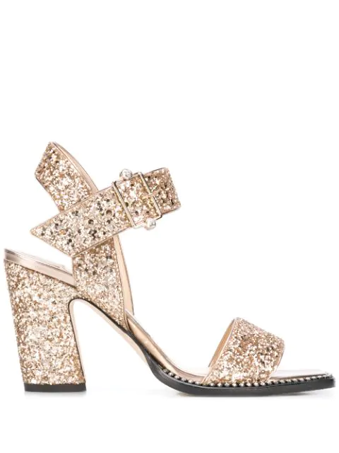 Jimmy Choo Minase 85mm Glitter Sandals In Gold