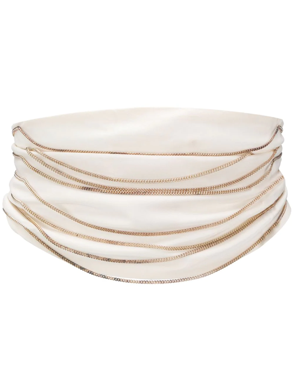 Pre-owned Maison Margiela 2000s Chain Embellished Draped Belt In White