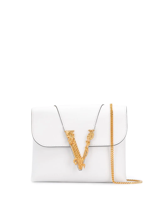 Versace Virtus Smooth Leather Wallet Chain Bag In White