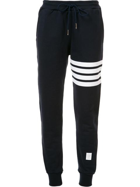 Thom Browne Intarsia Cotton Jersey Jogging Pants In Blue