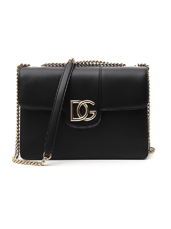 Dolce & Gabbana Dg Logo Interlocking Shoulder Bag In Black