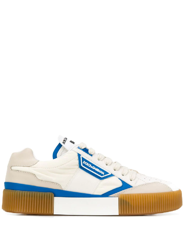 Dolce & Gabbana Miami Leather And Canvas Sneakers In 8G055
