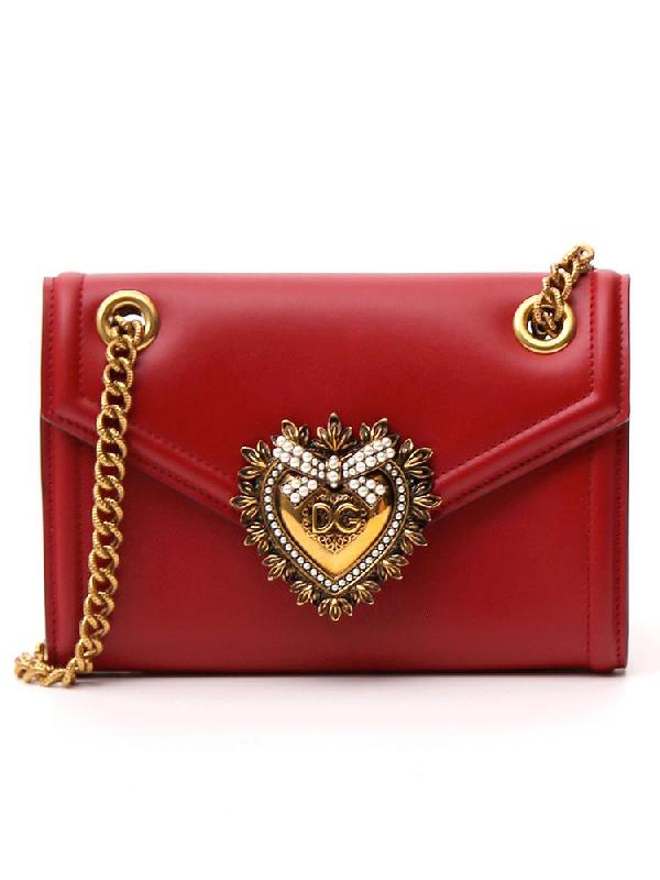 Dolce & Gabbana Mini Devotion Shoulder Bag In Red