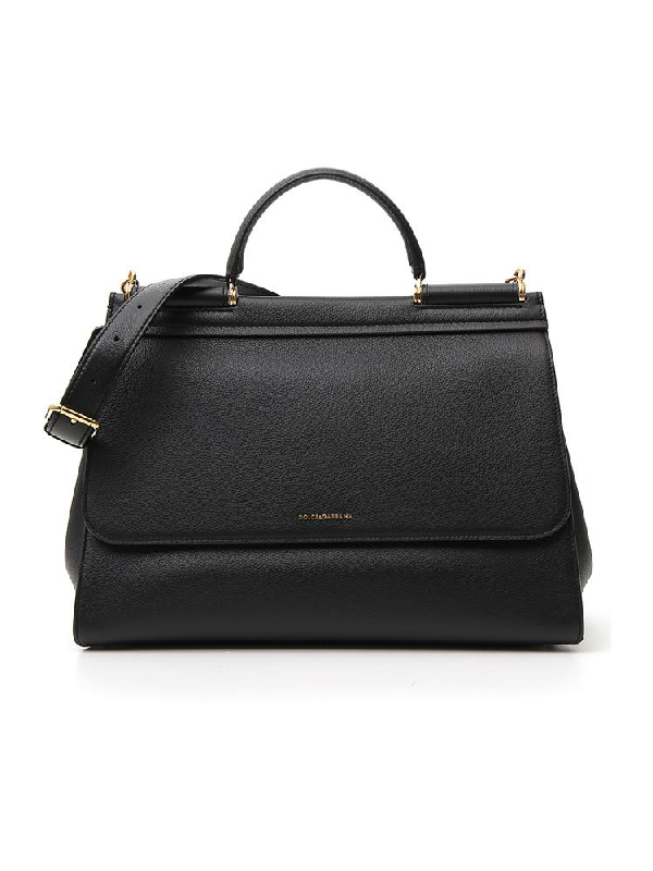 Dolce & Gabbana Sicily Top Handle Tote Bag In Black