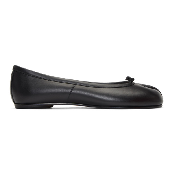 Maison Margiela 10mm Tabi Wrinkled Patent Leather Flats In 900 Black
