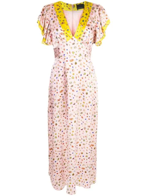 Cynthia Rowley Pamela Flutter-sleeve Stretch Silk Maxi Dress In Pnkmt - Pink Multi