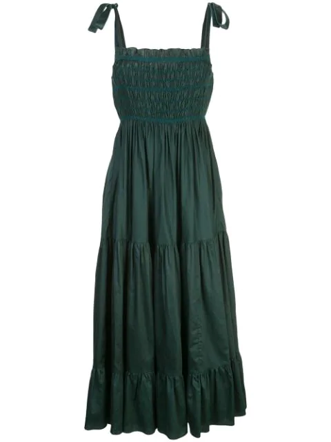 Cynthia Rowley Hailey Smocked Tie-shoulder Tiered Cotton Dress In Green