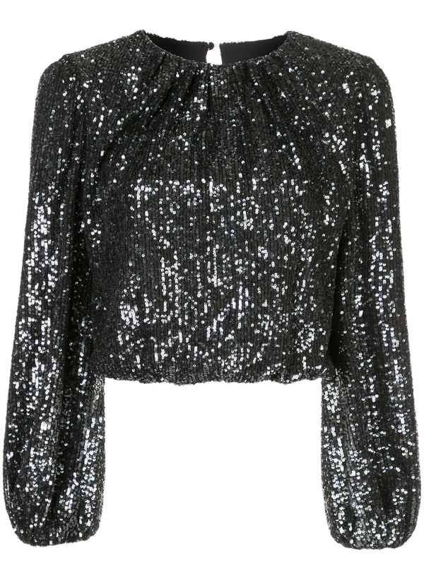 Alice And Olivia Women's Avila Sequin Cropped Blouson Top In Black