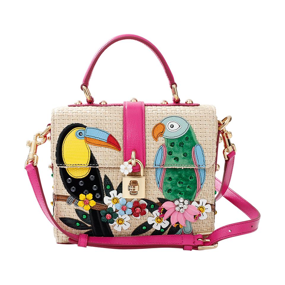 c433616a1d09 Dolce   Gabbana  Dolce Bag  In Raffia With Embellished Parrot AppliquÉ ...