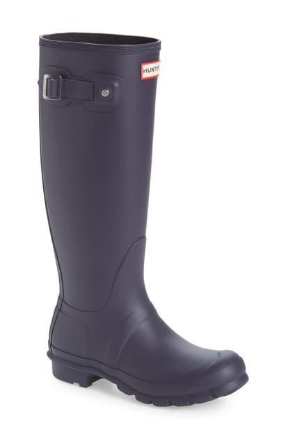 Hunter Original Tall Waterproof Rain Boot In Aubergine Purple