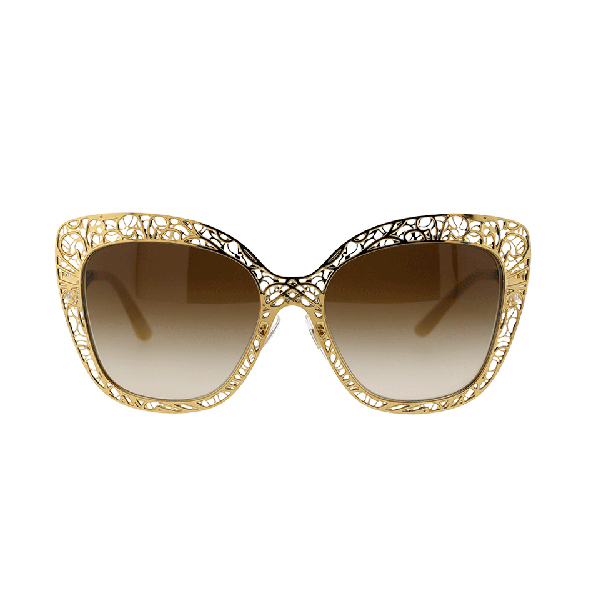 3f53884b9b6 Dolce   Gabbana Flowers Lace Square Metal Sunglasses In Gold Brown ...