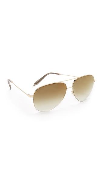 5b53831ccdf9 Victoria Beckham Classic Victoria Aviator Sunglasses In Gold Copper ...