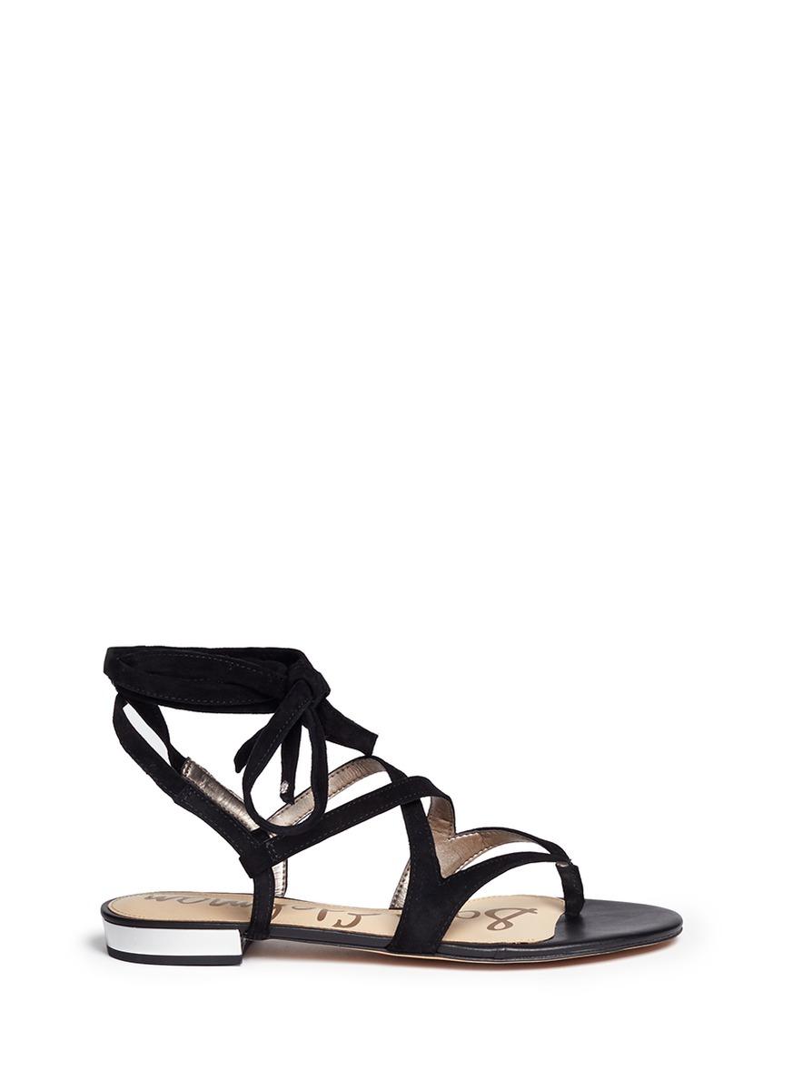 33bca0dfd Sam Edelman  Davina  Lace-Up Suede Thong Sandals In Black