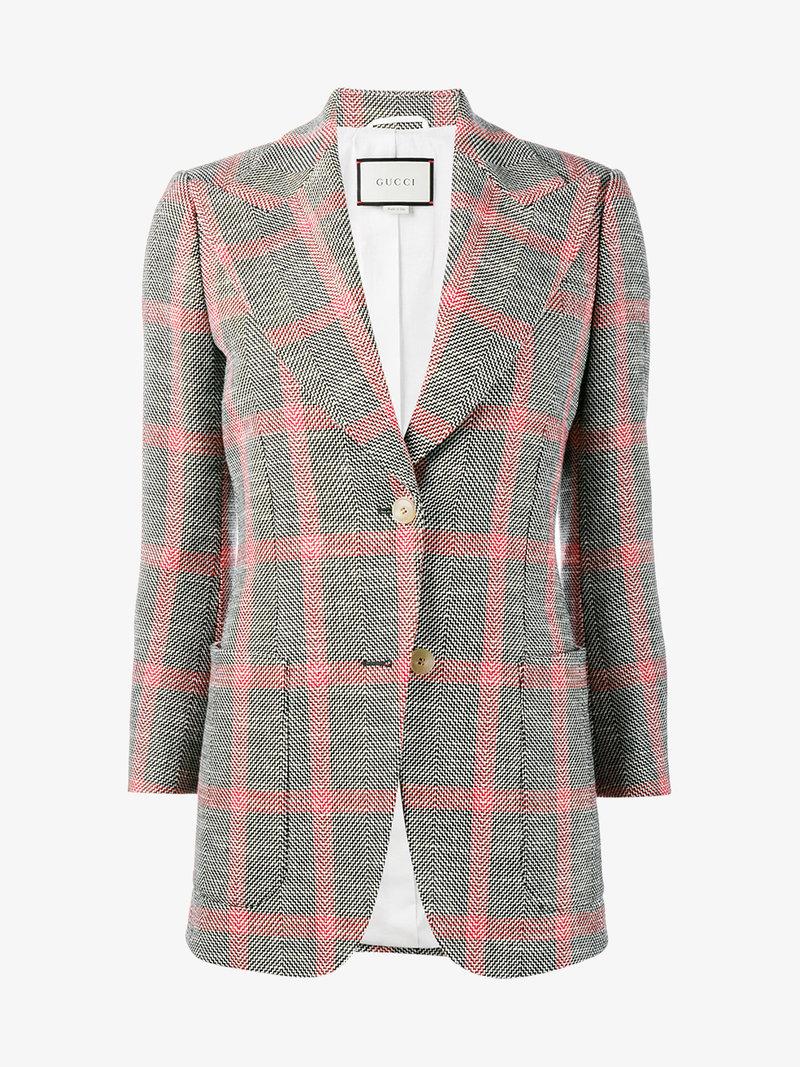 dd197d289 Gucci AppliquÉD Checked Wool-Blend Tweed Blazer In Llack | ModeSens