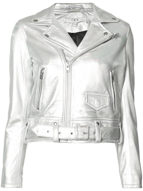 Iro Cropped Biker Jacket In Silver Lame
