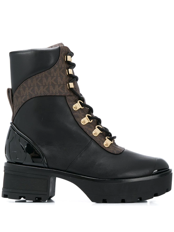 Michael Michael Kors Logo Panel Boots In Black