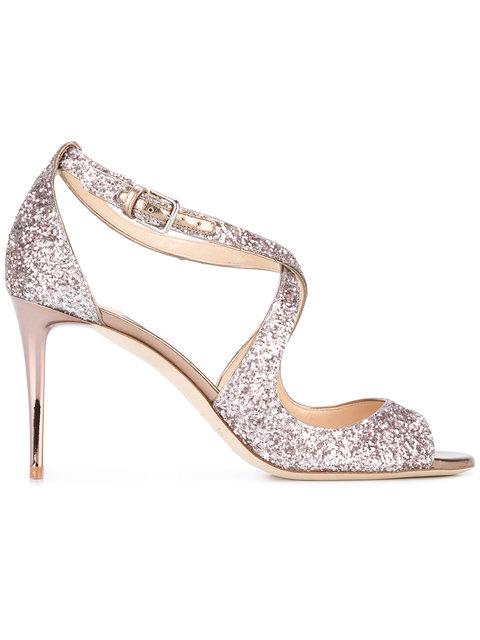 83cfe5807c3f Jimmy Choo Emily 85 Ballet Pink Shadow Coarse Glitter Fabric Sandals ...