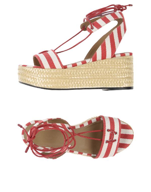 Sonia Rykiel Striped Platform Sandals In Red