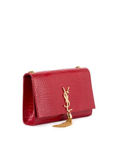 cef0577d4e28 Saint Laurent Kate Monogram Medium Crocodile-Embossed Tassel Shoulder Bag  In Red. SAINT LAURENT