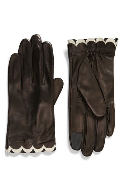 Kate Spade Scallop Leather Gloves In Black/ Cream