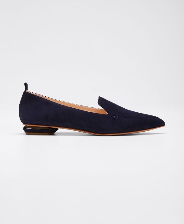 Nicholas Kirkwood Beya Flat Suede Loafers In Blue