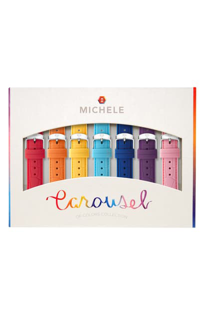 Michele Carousel 7-pack 16mm Silicone Watch Strap Gift Set In Multi Color