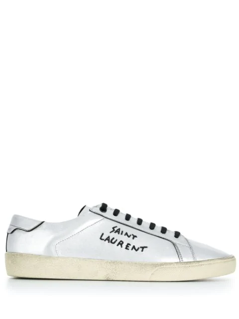 Saint Laurent Court Classic Sl/06 Embroidered Sneakers In Used-look Metallic Leather In Nickel