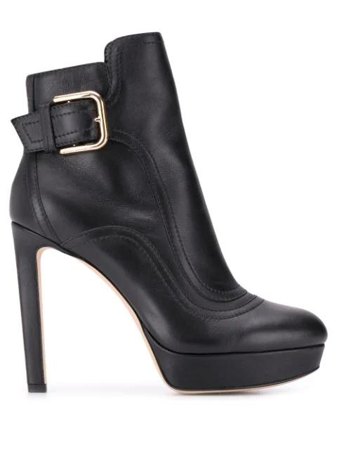 Jimmy Choo Women's Britney 115 Leather High-heel Platform Booties In Black
