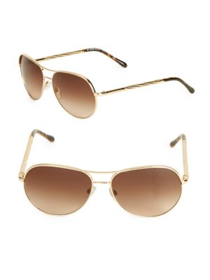 9fc10ebf490 BURBERRY BE3072 114513 GOLD CHECK AVIATOR SUNGLASSES