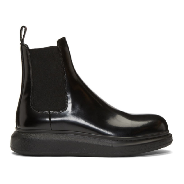 Alexander Mcqueen Leather Boots With Elestic Details/elasic Col Sole In 1000 Blkblk
