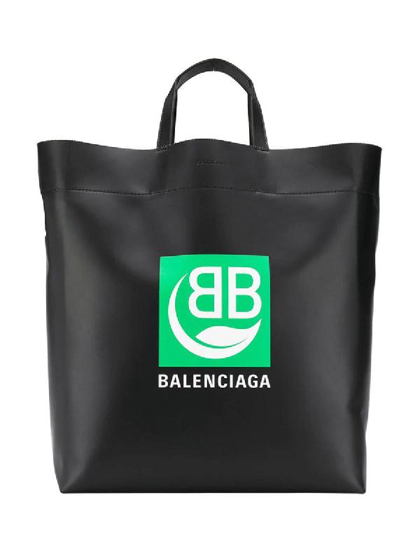 Balenciaga Market Printed Leather Tote Bag In Black