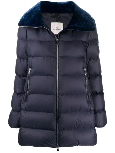 Wvelvet Detail Torcon Jacket In Down Nylon Blue hrdCxQts