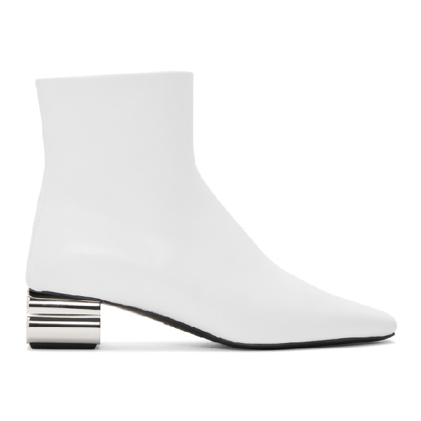 Balenciaga Typo Square-toe Leather Ankle Boots In White/silver