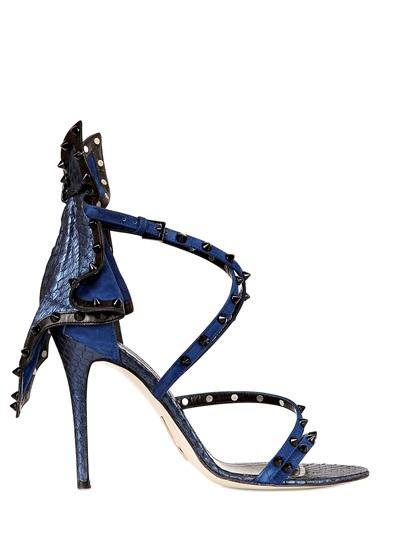 Daniele Michetti 100Mm Elaphe & Calf Patch Sandals In Blue