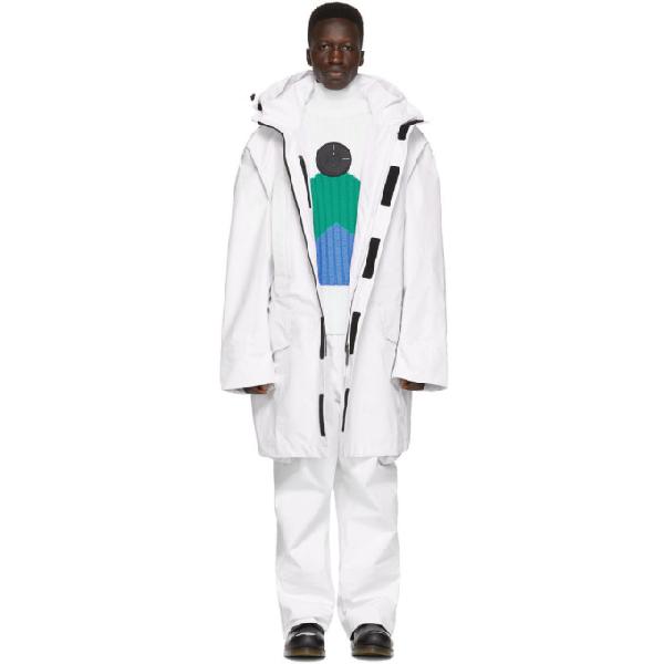 Raf Simons White Templa Edition Oversized Shell Ski Jacket In 00010 White