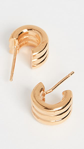 Agmes Mini Triple Ridge Hoops In Gold Vermeil