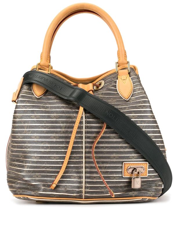 Pre-owned Louis Vuitton  Striped Logo Print Tote In Brown