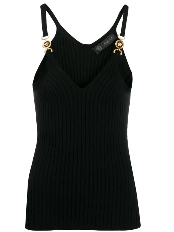 Versace Embellished Ribbed-knit Camisole In Black