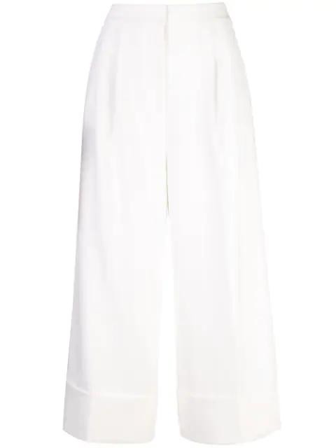 Tibi Anson Stretch Cuffed Tuxedo Pants In White