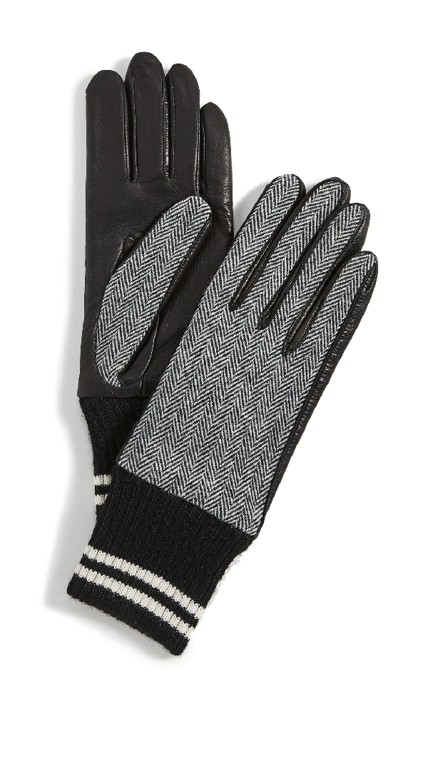Rag & Bone Herringbone Lamb Leather Gloves In Black Multi