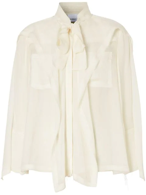 Burberry Pussy-bow Panelled Silk-chiffon Blouse In White
