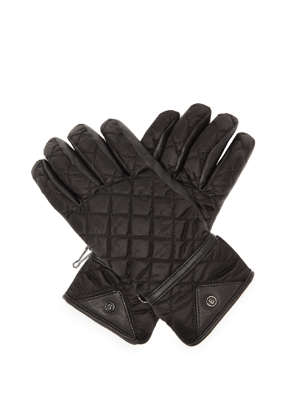 Bogner Cyra Quilted Leather-panel Technical Gloves In Black