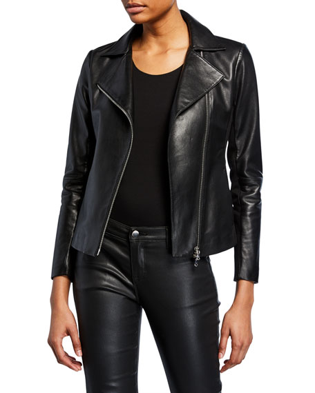 Armani Collezioni Emporio Armani Leather Motorcycle Jacket In Black