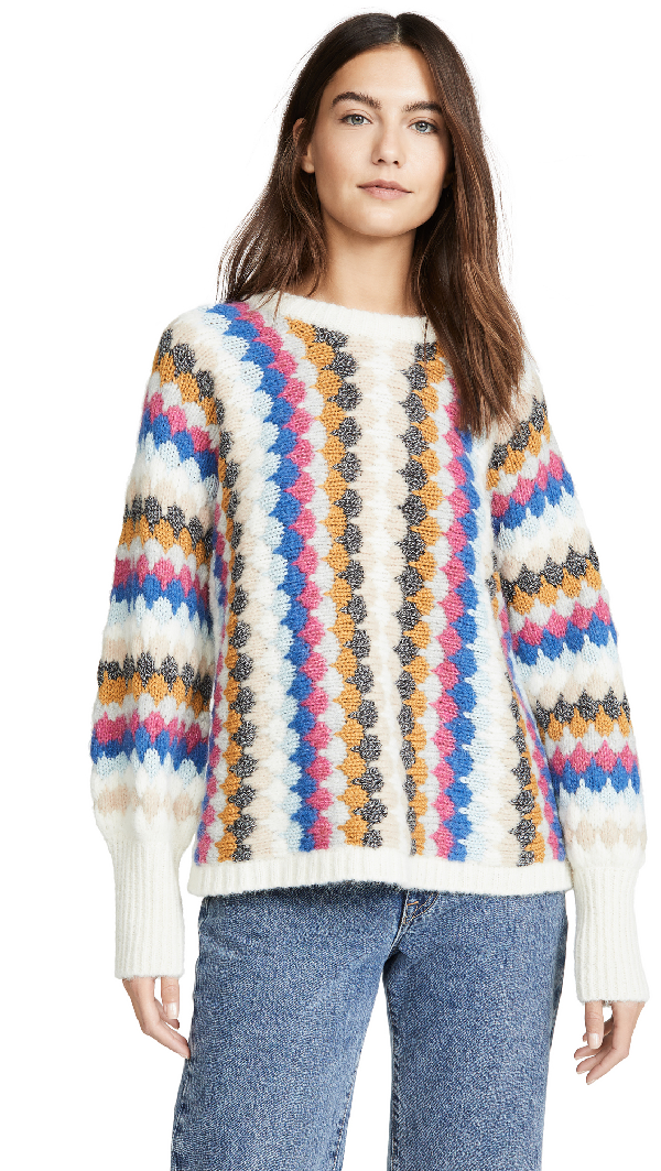 Eleven Six Kara Scalloped Knit Sweater In Multi Combo