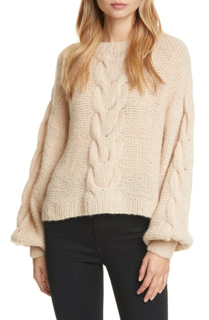 Eleven Six Sophia Cable Knit Balloon-sleeve Sweater In Pale Camel